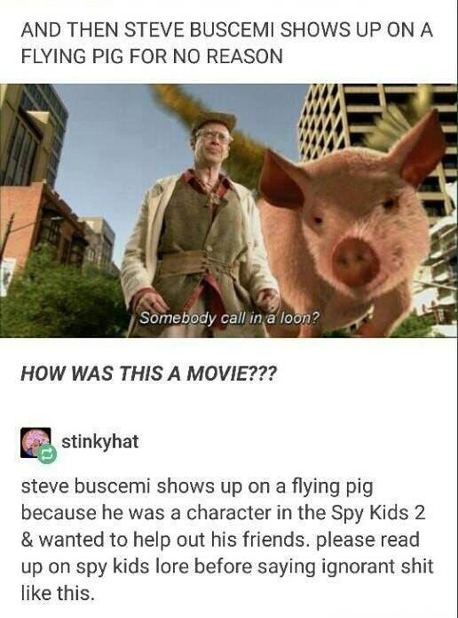 Photo caption - AND THEN STEVE BUSCEMI SHOWS UP ON A FLYING PIG FOR NO REASON Somebody call in a loon? HOW WAS THIS A MOVIE??? stinkyhat steve buscemi shows up on a flying pig because he was a character in the Spy Kids 2 & wanted to help out his friends. please read up on spy kids lore before saying ignorant shit like this.