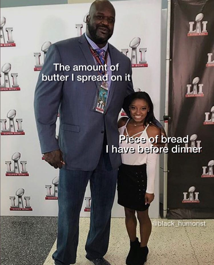 Suit - LAI RBOWL The amount of WBOWL butter I spread on it LAI UPER BOWL LA TAT UPER 6O Piece of bread I have before dinner LA LAI @black_humorist