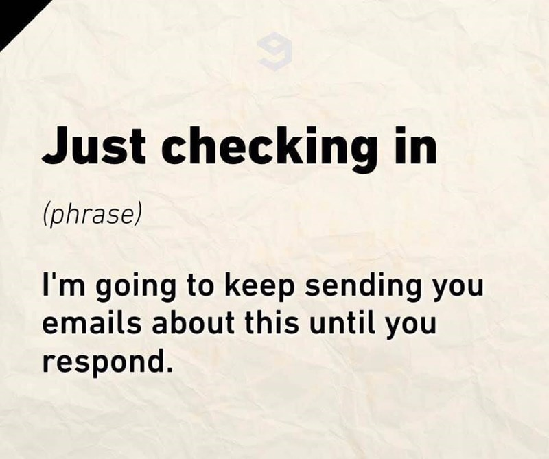 Text - Just checking in (phrase) I'm going to keep sending you emails about this until you respond.
