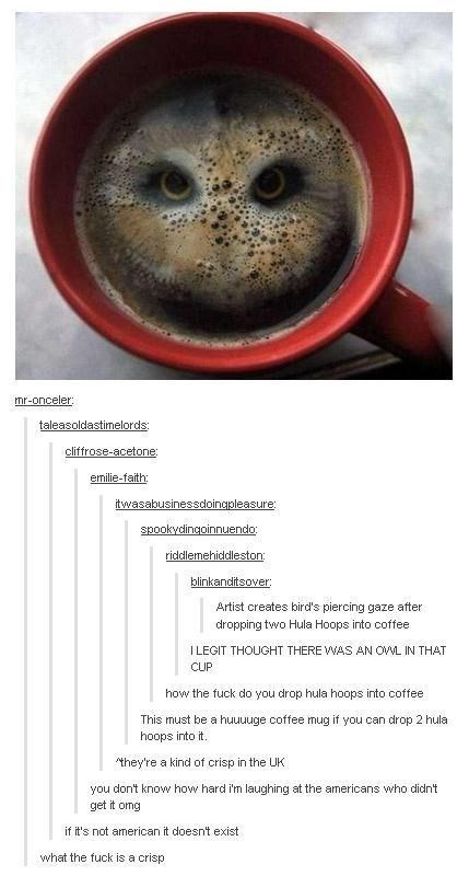 Smile - mr-onceler: taleasoldastimelords: cliffrose-acetone: emilie-faith: itwasabusinessdoingpleasure: spookydingoinnuendo: riddlemehiddleston: blinkanditsover: Artist creates bird's piercing gaze after dropping two Hula Hoops into coffee ILEGIT THOUGHT THERE WAS AN OWL IN THAT CUP how the fuck do you drop hula hoops into coffee This must be a huuuuge coffee mug if you can drop 2 hula hoops into it. they're a kind of crisp in the UK you don't know how hard I'm laughing at the americans who didn