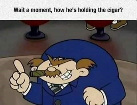 Animated cartoon - Wait a moment, how he's holding the cigar?