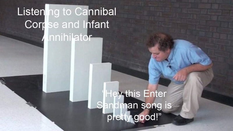 """Product - Listen ng to Cannibal Corpse and Infant Annihilator Hev this Enter Sandman song is pretty good!"""""""