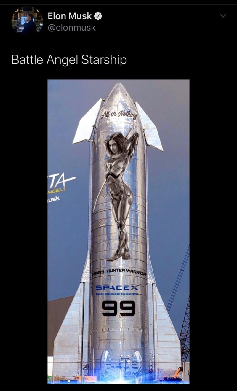 Trophy - Elon Musk Pe @elonmusk Battle Angel Starship All or Nothing NGEL usk MARS HUNTER WARRIOR SPACEX Spece Exploration Techeoloytes 99