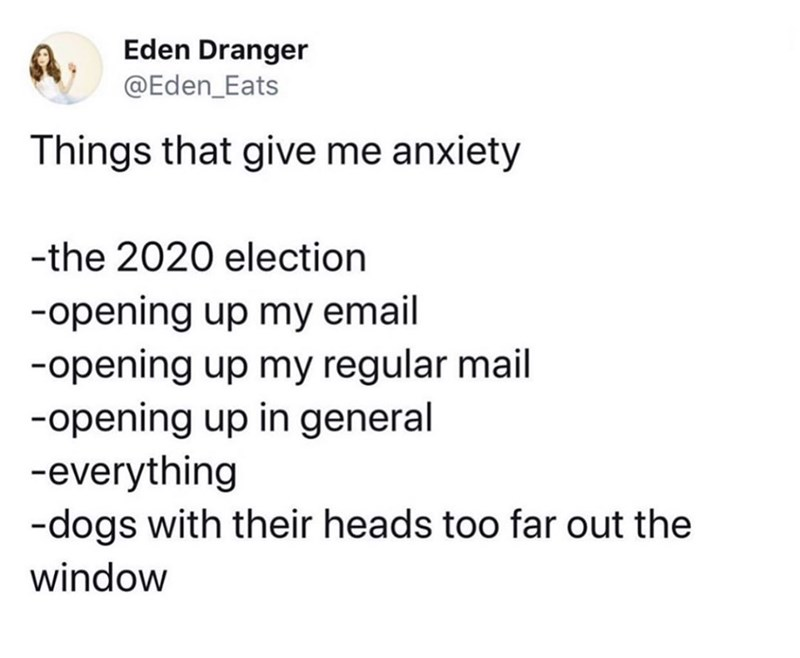 Text - Eden Dranger @Eden Eats Things that give me anxiety -the 2020 election -opening up my email -opening up my regular mail -opening up in general -everything -dogs with their heads too far out the window