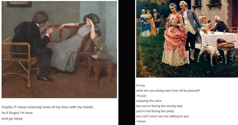 Funny pictures of women having a terrible time in art