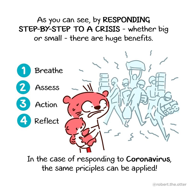 Text - As you can see, by RESPONDING STEP-BY-STEP TO A CRISIS - whether big or small - there are huge benefits. 1 Breathe Assess Action 4 Reflect In the case of responding to Coronavirus, the same priciples can be applied! @robert.the.otter