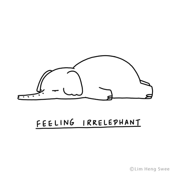 Line art - FEELING IRRELEPHANT ©Lim Heng Swee