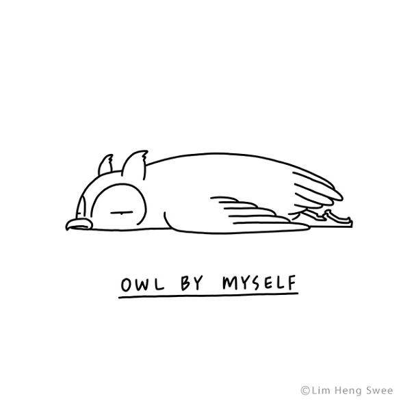 Line art - OWL BY WMYSELF ©Lim Heng Swee