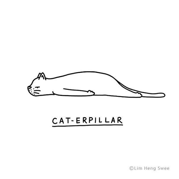 Line art - CAT-ERPIL LAR ©Lim Heng Swee
