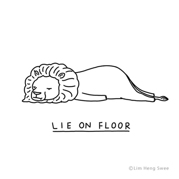 Line art - LIE ON FLOOR ©Lim Heng Swee