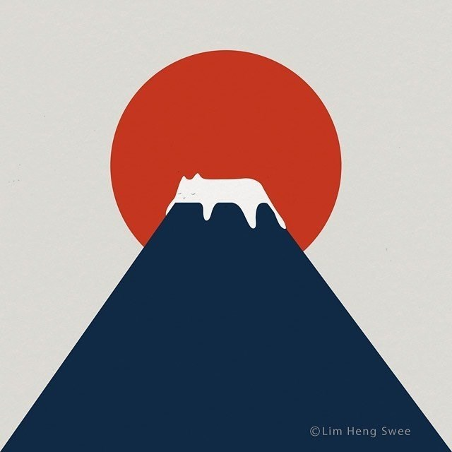 cat art illustration drawing simple minimalistic sun rising behind a mountain and a white cat sleeping on top of the mountain looking like snow