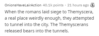 Text - OnionsHaveLairAction 40.1k points · 21 hours ago 3 When the romans laid siege to Themyscera, a real place weirdly enough, they attempted to tunnel into the city. The Themyscerans released bears into the tunnels.