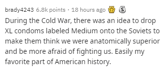 Text - brady4243 6.8k points · 18 hours ago 9 3 During the Cold War, there was an idea to drop XL condoms labeled Medium onto the Soviets to make them think we were anatomically superior and be more afraid of fighting us. Easily my favorite part of American history.
