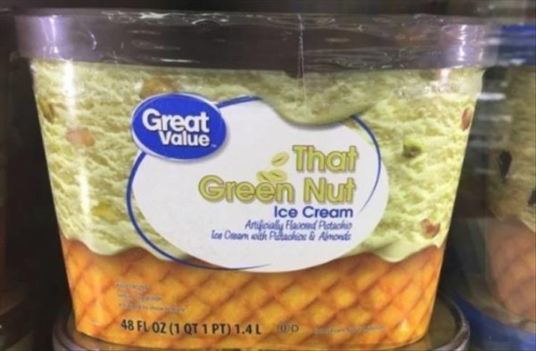 Food - Great Value That Green Nut Ice Cream Artifoialy Flavond Pistachio loe Ceam with Ptachios & Almonds 48 FL OZ (1 QT 1 PT) 1.4L D