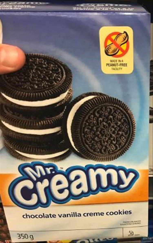 Oreo - 76351H-RG-R MADE INA PEANUT-FREE FACLITY Mr. Creamy chocolate vanilla creme cookies 350 g 1N1E