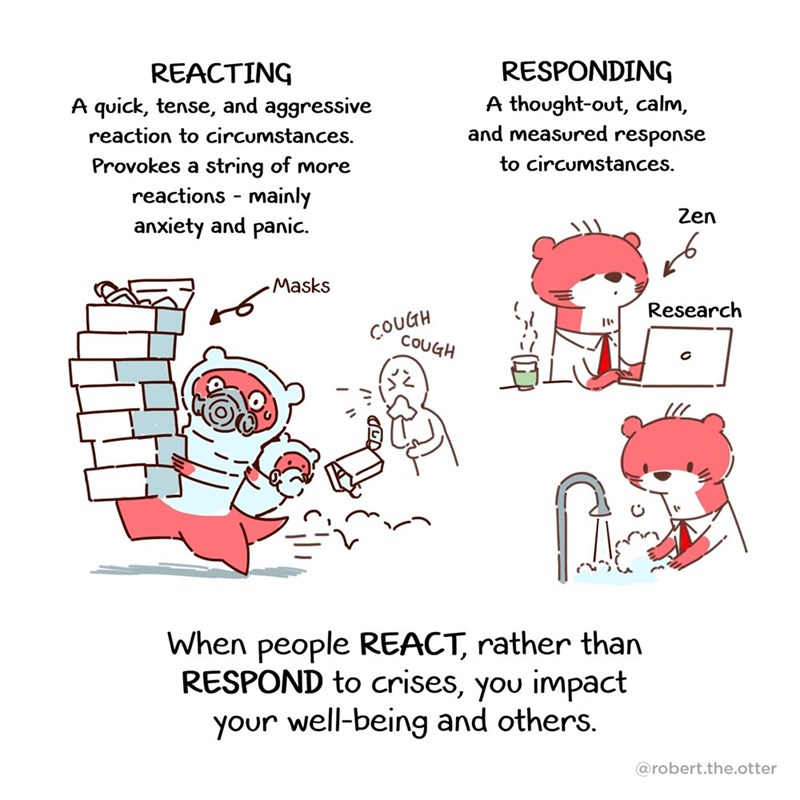 Text - RESPONDING REACTING A quick, tense, and aggressive A thought-out, calm, and measured response reaction to circumstances. Provokes a string of more reactions - mainly anxiety and panic. to circumstances. Zen Masks Research ÇOUGH COUGH When people REACT, rather than RESPOND to crises, you impact your well-being and others. @robert.the.otter