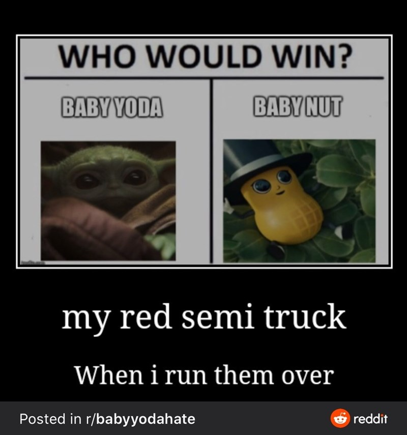 Photo caption - WHO WOULD WIN? BABY YODA BABYNUT my red semi truck When i run them over Posted in r/babyyodahate & reddit