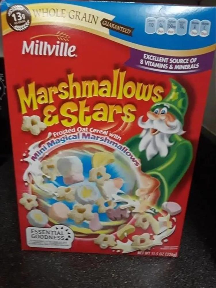 Breakfast cereal - 139 WHOLE GRAIN C 0860 88 GUARANTEED Millville. EXCELLENT SOURCE OF 8 VITAMINS&MINERALS Marshmallows Stars Mini Magical Marshmallows ESSENTIAL GOODNESS NET WT 11.5 GZ (376g)