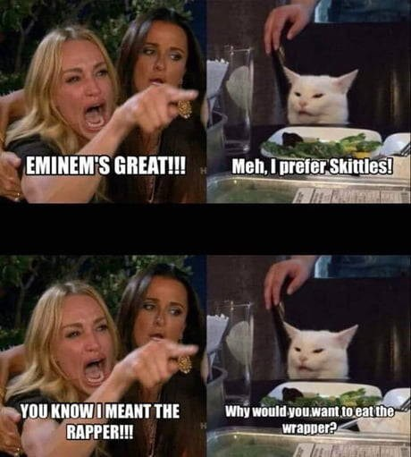 woman yelling at a cat meme: eminem's great!!! meh i prefer skittles! you know i meant the wrapper why would you want to eat the wrapper?