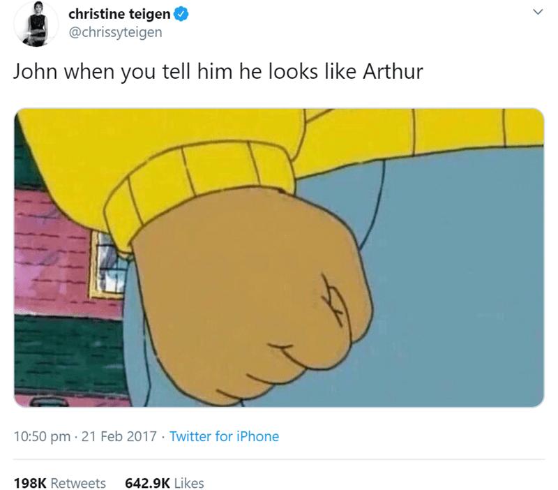 Cartoon - christine teigen @chrissyteigen John when you tell him he looks like Arthur 10:50 pm · 21 Feb 2017 · Twitter for iPhone 198K Retweets 642.9K Likes
