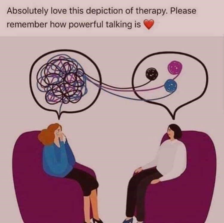Text - Absolutely love this depiction of therapy. Please remember how powerful talking is
