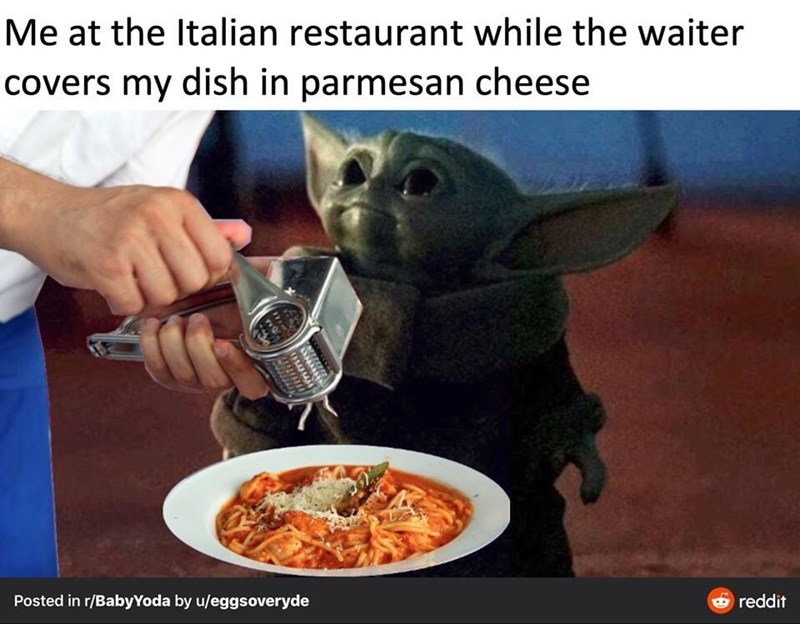 Junk food - Me at the Italian restaurant while the waiter covers my dish in parmesan cheese Posted in r/BabyYoda by u/eggsoveryde O reddit