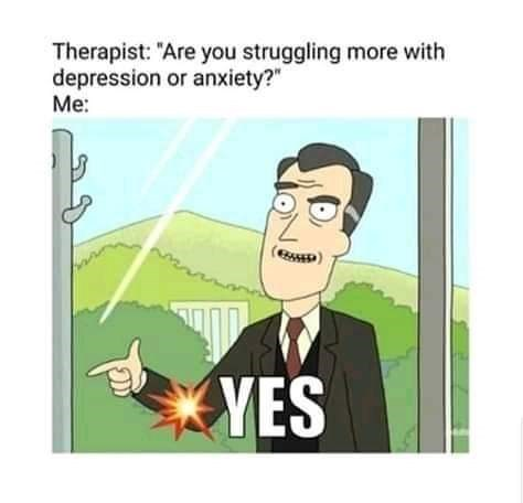 """Cartoon - Therapist: """"Are you struggling more with depression or anxiety?"""" Me: YES"""