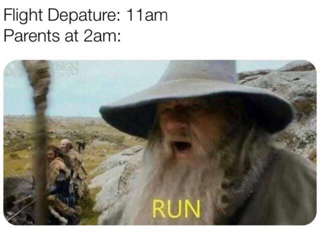 Adaptation - Flight Depature: 11am Parents at 2am: RUN