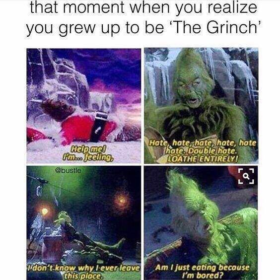 Organism - that moment when you realize you grew up to be 'The Grinch' Help mcl Am.c. feeling, @bustle Hate, hate, hate, hote, hate hate. Double hate. LOATHE ENTIRELY! idon't know why I ever leave this place. Am I just eating because I'm bored?