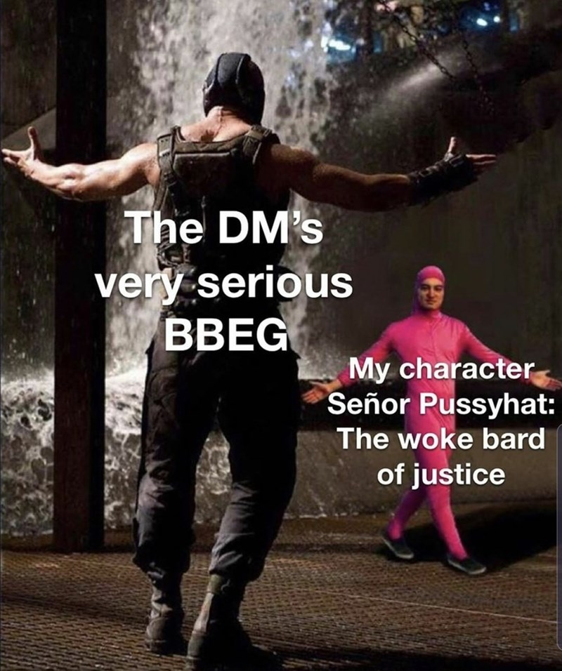 Photo caption - The DM's very serious BBEG My character Señor Pussyhat: The woke bard of justice
