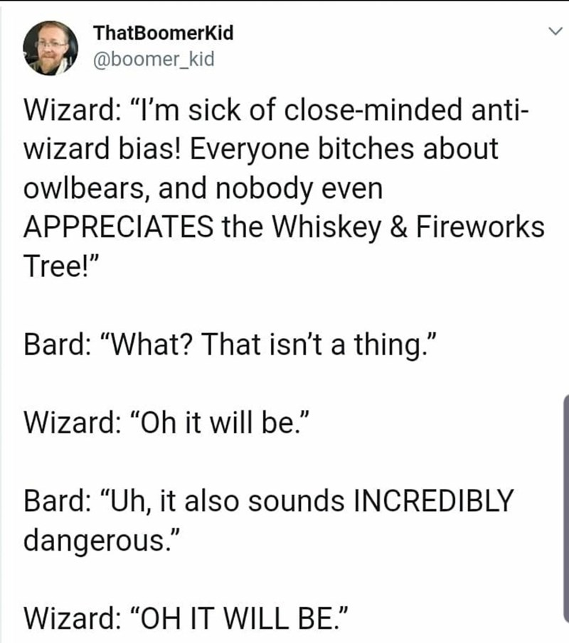 "Text - ThatBoomerKid @boomer_kid Wizard: ""I'm sick of close-minded anti- wizard bias! Everyone bitches about owlbears, and nobody even APPRECIATES the Whiskey & Fireworks Tree!"" Bard: ""What? That isn't a thing."" Wizard: ""Oh it will be."" Bard: ""Uh, it also sounds INCREDIBLY dangerous."" Wizard: ""OH IT WILL BE."""