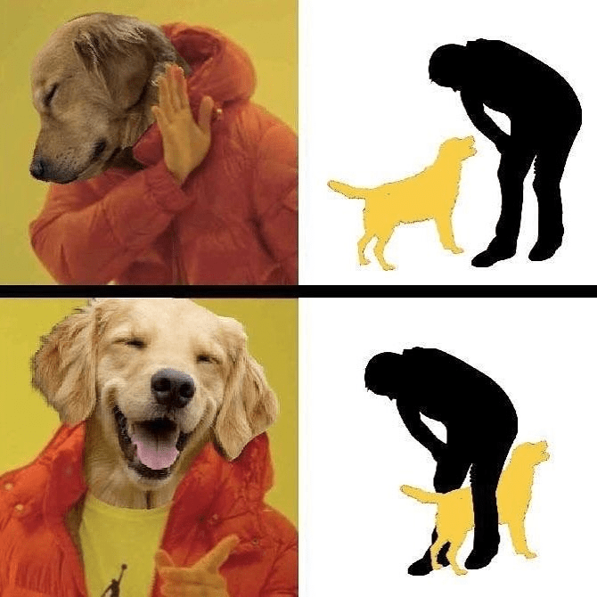 Drakeposting funny meme about how dogs stand weirdly when they are being pet and go between your legs.