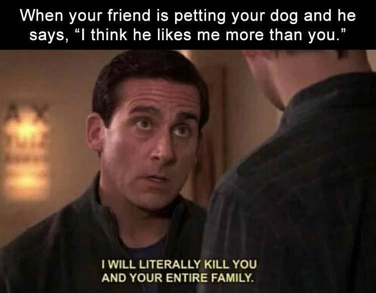 Steve Carell michael scott the office meme | when your friend is petting your dog and he says i think he likes me more than you i will literally kill you and your entire family