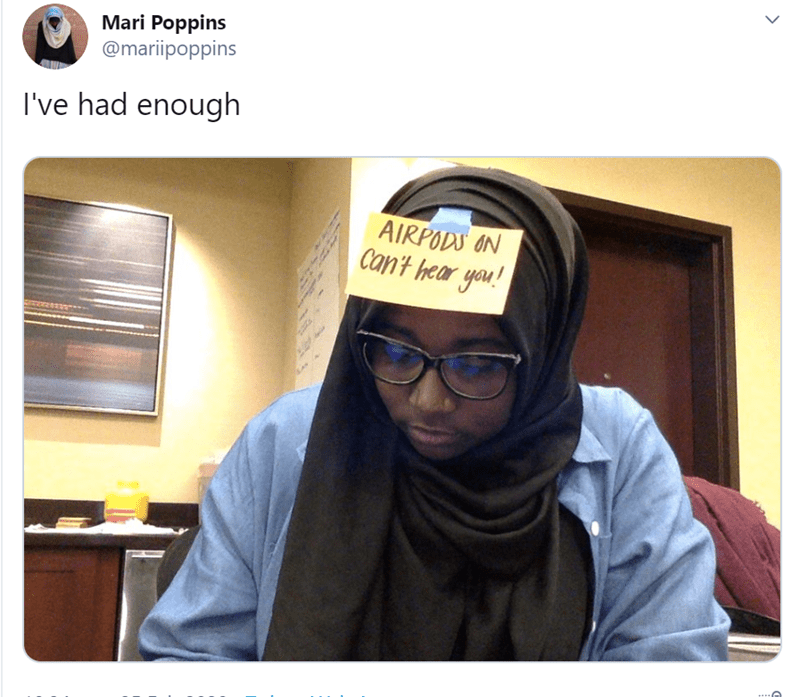 Head - Mari Poppins @mariipoppins I've had enough AIRPODS ON Can't hear you!