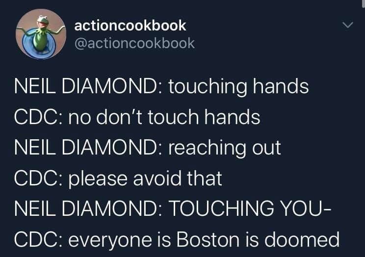 Text - actioncookbook @actioncookbook NEIL DIAMOND: touching hands CDC: no don't touch hands NEIL DIAMOND: reaching out CDC: please avoid that NEIL DIAMOND: TOUCHING YOU- CDC: everyone is Boston is doomed