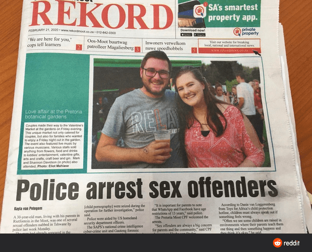 Newspaper - REKORD SA's smartest property app. private property CEBRUARY 21. 2020 www.rekordmoot.co.za 012-842-0300 Download now! We are here for you, cops tell learners Oos-Moot buurtwag patrolleer Magaliesberg Inwoners verwelkom Visit our website for breaking local, national and international news nuwe spoedhobbels ww.rekoedino.co.a Love affair at the Pretoria botanical gardens REA Couples made their way to the Valentine's Market at the gardens on Friday evening This unique market not only cat
