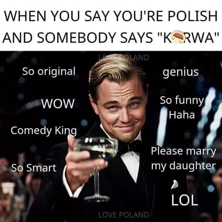 """Photo caption - WHEN YOU SAY YOU'RE POLISH AND SOMEBODY SAYS """"K RWA"""" LeVEPOLAND So original genius WOW So funny Haha Comedy King Please marry So Smart my daughter LOL LOVE POLAND"""