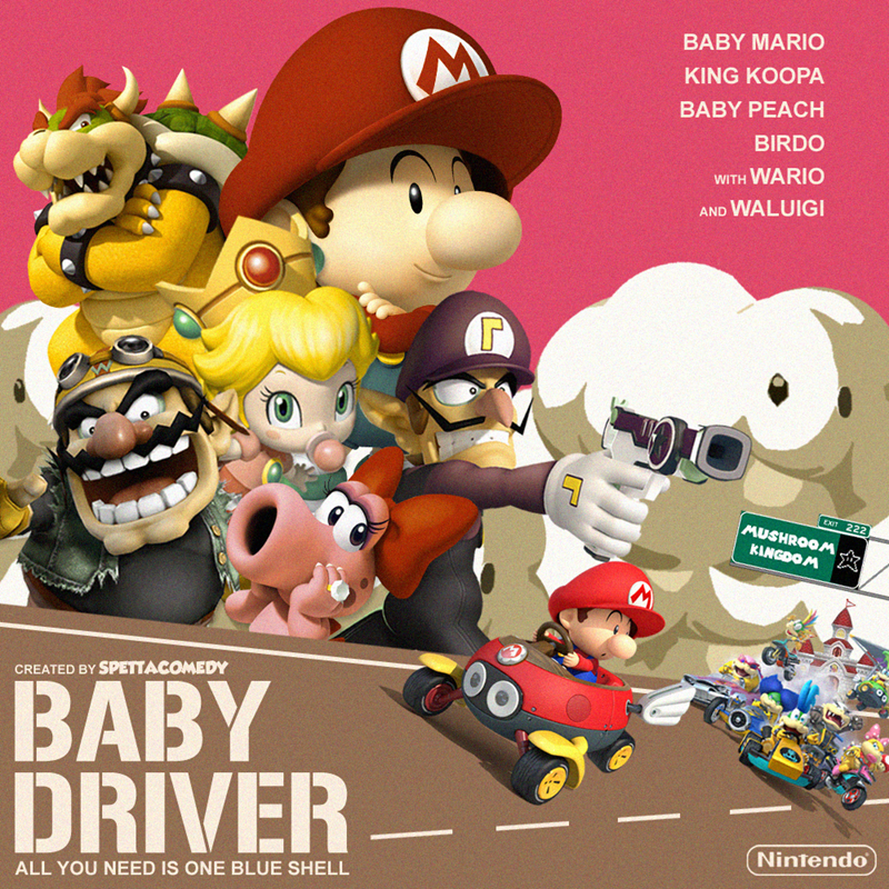 Cartoon - Cartoon - BABY MARIO KING KOOPA BABY PEACH BIRDO WITH WARIO AND WALUIGI EXIT 222 MUSHROOM KINGDOM CREATED BY SPETTACOMEDY BABY DRIVER- Nintendo ALL YOU NEED IS ONE BLUE SHELL