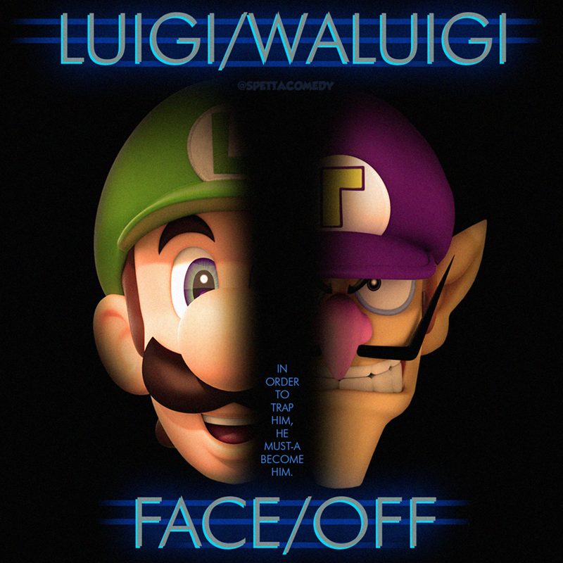 Cartoon - Poster - LUIGI/WALUIGI @SPETTACOMEDY IN ORDER TO TRAP HIM, НЕ MUST-A BECOME HIM. FACE/OFF