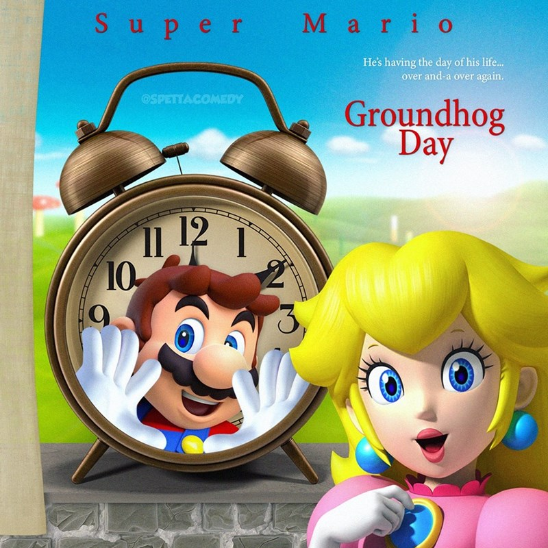 Cartoon - Cartoon - Super Mario He's having the day of his life.. over and-a over again. Groundhog Day @SPETTACOMEDY 11 12 1 10