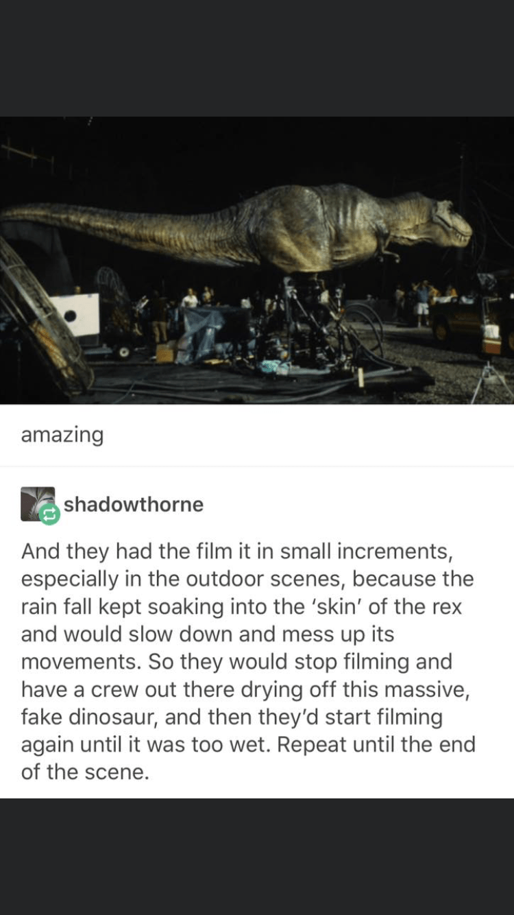 Adaptation - amazing shadowthorne And they had the film it in small increments, especially in the outdoor scenes, because the rain fall kept soaking into the 'skin' of the rex and would slow down and mess up its movements. So they would stop filming and have a crew out there drying off this massive, fake dinosaur, and then they'd start filming again until it was too wet. Repeat until the end of the scene.