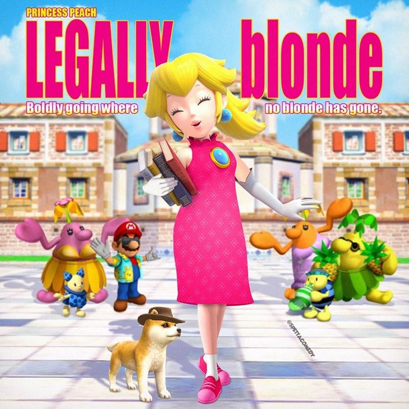 Cartoon - Animated cartoon - PRINCESS PEACH LEGALI blonde Boldlygoing where no blonde has gone. @SPETTACOMEDY