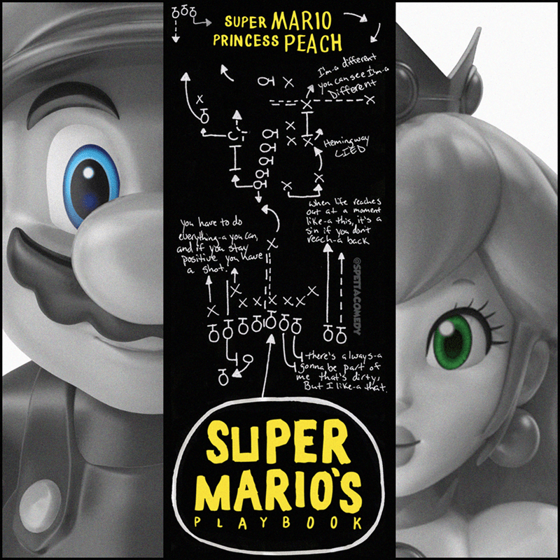 Cartoon - .ర SUPER MARIO PRINCESS PEACH different you Can see Iwm-a Different I'm-co х Hemingway LIED' when life reaches Out at a moment have to do you ebenyting a you can and if you stay positive you Kave li a shot.', like-a this, it's a sin if you don't veceh-a back రెరరరర I there's always-a 1 gonna, be part of me that's dicty, But I like-a that SUPER MARIO'S PLAY B 00 K @SPETTACOMEDY ю