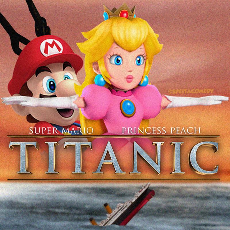 Cartoon - Animated cartoon - OSPETTACOMEDY SUPER MARIO PRINCESS PEACH TITANIC