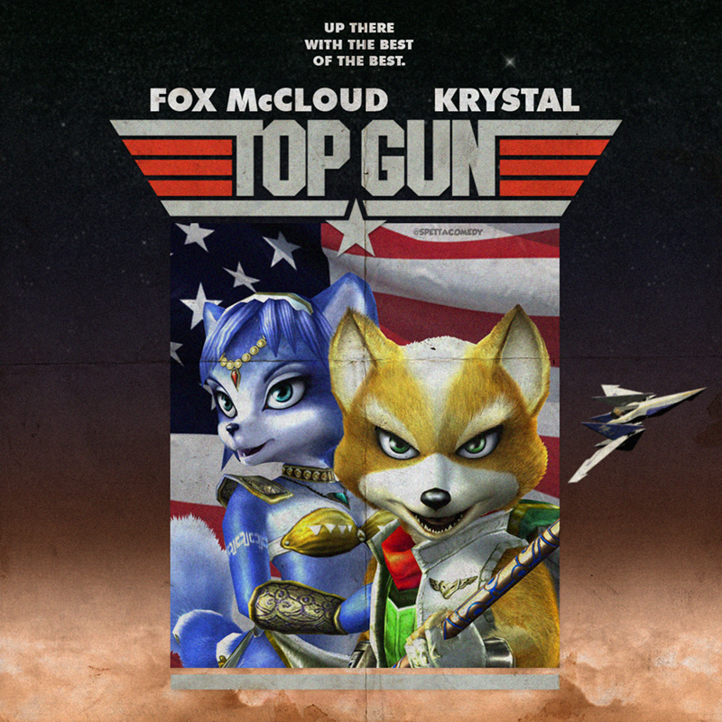 Cartoon - Animated cartoon - UP THERE WITH THE BEST OF THE BEST. FOX MCCLOUD KRYSTAL TOP GUN @SPETTACOMEDY