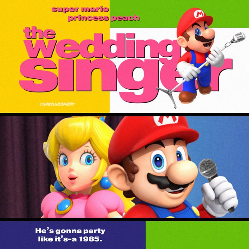 Cartoon - Cartoon - super mario princess peach the Wedding singr @SPETTACOMEDY He's gonna party like it's-a 1985.