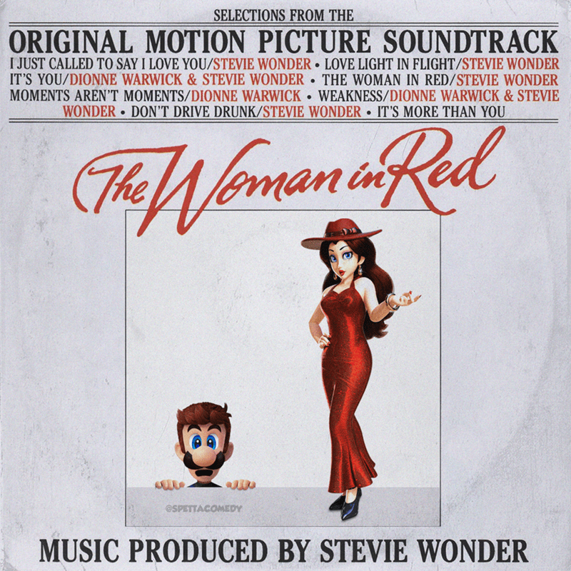 Cartoon - Poster - SELECTIONS FROM THE ORIGINAL MOTION PICTURE SOUNDTRACK I JUST CALLED TO SAY I LOVE YOU/STEVIE WONDER • LOVE LIGHT IN FLIGHT/STEVIE WONDER IT'S YOU/DIONNE WARWICK & STEVIE WONDER • MOMENTS AREN'T MOMENTS/DIONNE WARWICK WEAKNESS/DIONNE WARWICK & STEVIE THE WOMAN IN RED/STEVIE WONDER WONDER DON'T DRIVE DRUNK/STEVIE WONDER IT'S MORE THAN YOU (TheWoman iRed @SPETTACOMEDY MUSIC PRODUCED BY STEVIE WONDER