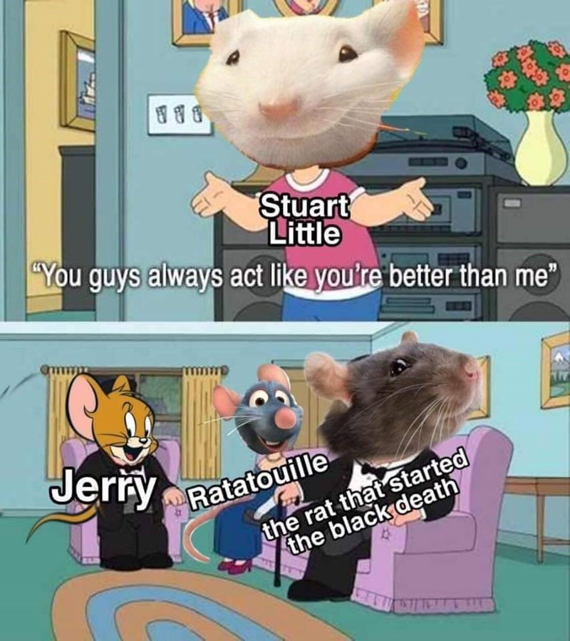 "Cartoon - Stuart Little ""You guys always act like you're better than me"" mmm Jerry the rat that started the black death Ratatouille"