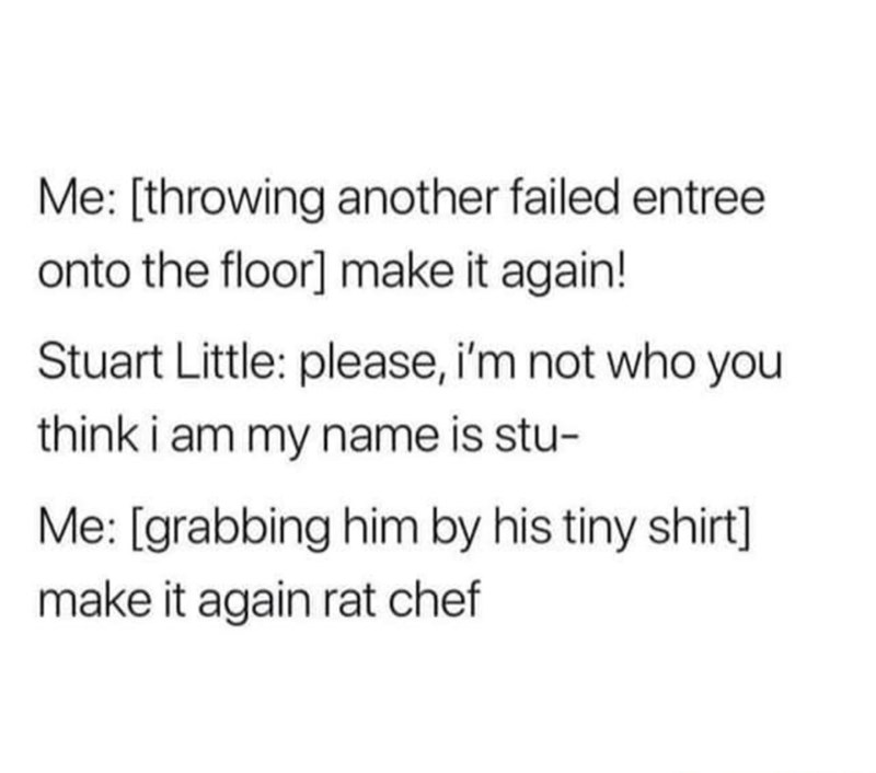 Text - Me: [throwing another failed entree onto the floor] make it again! Stuart Little: please, i'm not who you think i am my name is stu- Me: [grabbing him by his tiny shirt] make it again rat chef