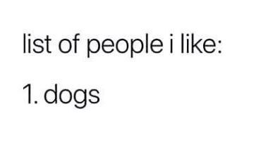 Text - list of people i like: 1. dogs